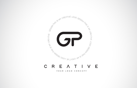 GP G P Logo Design with Black and White Creative Icon Text Letter Vector.