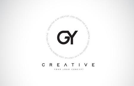GY G Y Logo Design with Black and White Creative Icon Text Letter Vector. Çizim