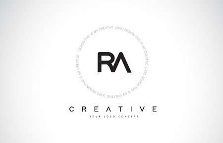 RA R A Logo Design with Black and White Creative Icon Text Letter Vector. Vectores
