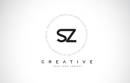 SZ S Z Logo Design with Black and White Creative Icon Text Letter Vector.