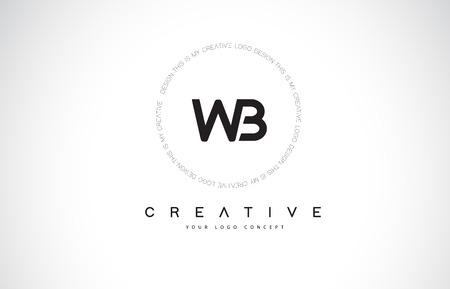 WB W B Logo Design with Black and White Creative Icon Text Letter Vector. Illusztráció