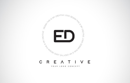 ED E D Logo Design with Black and White Creative Icon Text Letter Vector. 矢量图像