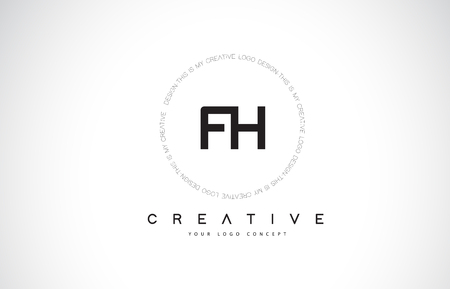 FH F H Logo Design with Black and White Creative Icon Text Letter Vector.  イラスト・ベクター素材
