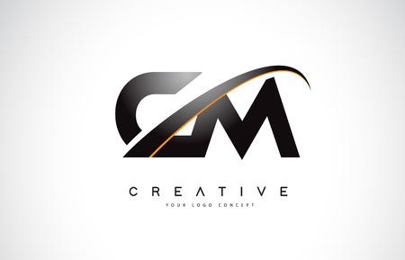CM C M Swoosh Letter Logo Design with Modern Yellow Swoosh Curved Lines Vector Illustration. Logó
