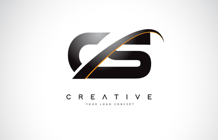 CS C S Swoosh Letter Logo Design with Modern Yellow Swoosh Curved Lines Vector Illustration.