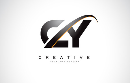 CY C Y Swoosh Letter Logo Design with Modern Yellow Swoosh Curved Lines Vector Illustration.