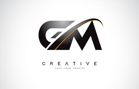 Création de logo de lettre GM GM Swoosh avec des lignes courbes Swoosh jaune moderne Vector Illustration.