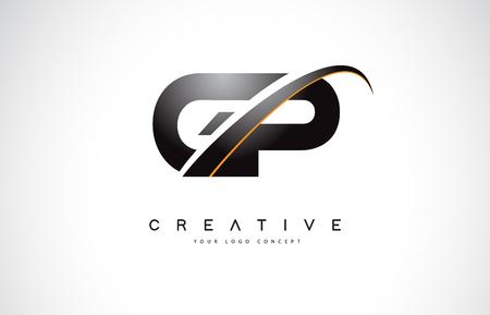 GP G P Swoosh Letter Logo Design with Modern Yellow Swoosh Curved Lines Vector Illustration. Illustration
