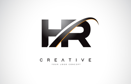 HR H R Swoosh Letter Logo Design with Modern Yellow Swoosh Curved Lines Vector Illustration.
