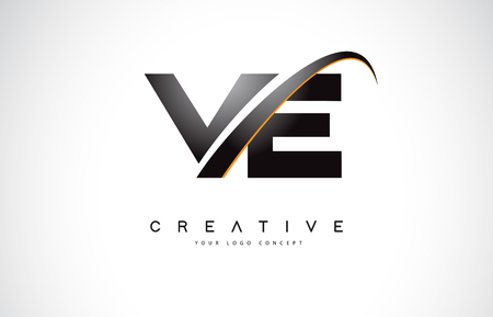 VE V E Swoosh Letter Logo Design with Modern Yellow Swoosh Curved Lines Vector Illustration.