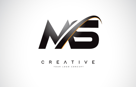 MS M S Swoosh Letter Logo Design with Modern Yellow Swoosh Curved Lines Vector Illustration. 版權商用圖片 - 107379609