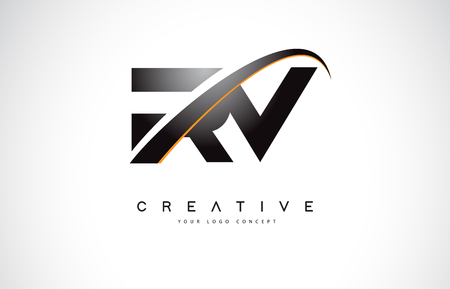RV R V Swoosh Letter Logo Design with Modern Yellow Swoosh Curved Lines Vector Illustration. Illustration