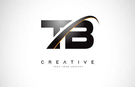 TB T B Swoosh Letter Logo Design with Modern Yellow Swoosh Curved Lines Vector Illustration.