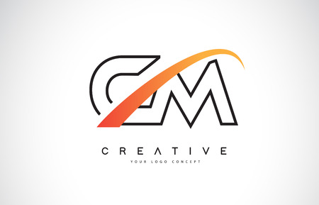 CM C M Swoosh Letter Logo Design with Modern Yellow Swoosh Curved Lines Vector Illustration.  イラスト・ベクター素材