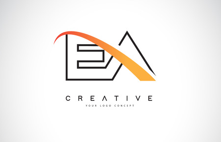 EA E A Swoosh Letter Logo Design with Modern Yellow Swoosh Curved Lines Vector Illustration.