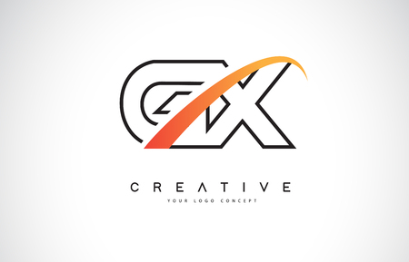GX G X Swoosh Letter Logo Design with Modern Yellow Swoosh Curved Lines Vector Illustration.