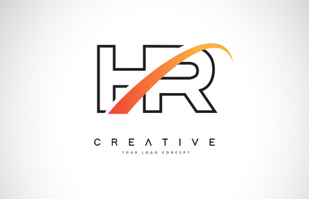 HR H R Swoosh Letter Logo Design with Modern Yellow Swoosh Curved Lines Vector Illustration. Illustration