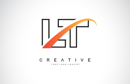 LT L T Swoosh Letter Logo Design with Modern Yellow Swoosh Curved Lines Vector Illustration.