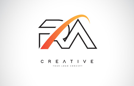 RA R A Swoosh Letter Logo Design with Modern Yellow Swoosh Curved Lines Vector Illustration.