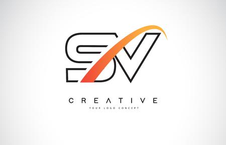 SV S V Swoosh Letter Logo Design with Modern Yellow Swoosh Curved Lines Vector Illustration.