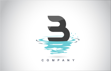B Letter Logo Design with Water Splash Ripples Drops Reflection Vector Icon Illustration.