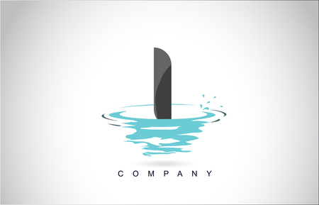 Création de Logo de lettre I avec de l'eau Splash Ripples gouttes Réflexion Vector Icon Illustration. Logo