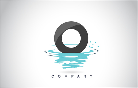 O Letter Logo Design with Water Splash Ripples Drops Reflection Vector Icon Illustration.
