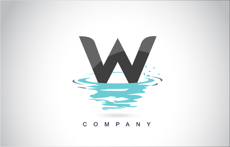W Letter Logo Design with Water Splash Ripples Drops Reflection Vector Icon Illustration.