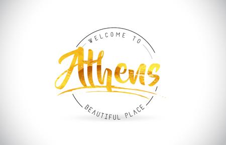 Atenas Bienvenido a texto de Word con fuente manuscrita y Vector de ilustración de diseño de textura dorada.