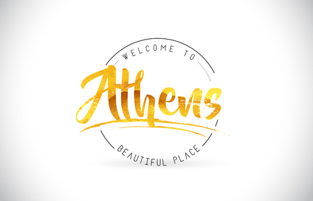 Athens Welcome To Word Text with Handwritten Font and Golden Texture Design Illustration Vector. 矢量图像