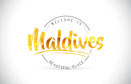 Maldives Welcome To Word Text with Handwritten Font and Golden Texture Design Illustration Vector. 写真素材 - 108330949