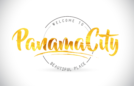 PanamaCity Welcome To Word Text with Handwritten Font and Golden Texture Design Illustration Vector.