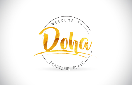Doha Welcome To Word Text with Handwritten Font and Golden Texture Design Illustration Vector.