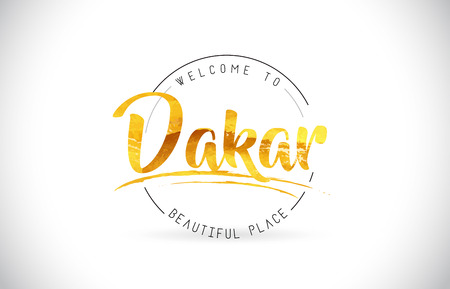 Dakar Welcome To Word Text with Handwritten Font and Golden Texture Design Illustration Vector.