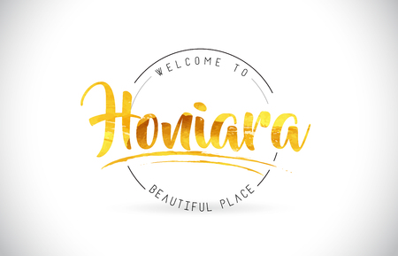Honiara Welcome To Word Text with Handwritten Font and Golden Texture Design Illustration Vector.