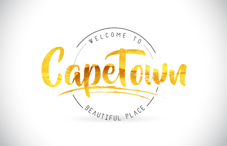 CapeTown Welcome To Word Text with Handwritten Font and Golden Texture Design Illustration Vector.