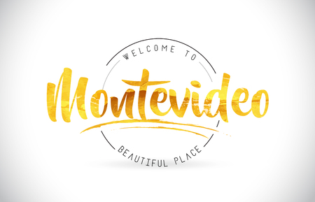 Montevideo Welcome To Word Text with Handwritten Font and Golden Texture Design Illustration Vector.