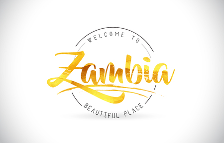 Zambia Welcome To Word Text with Handwritten Font and Golden Texture Design Illustration Vector. Illustration