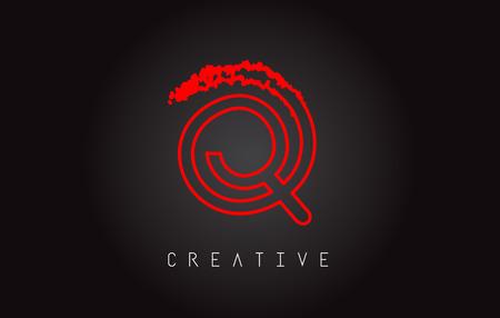 Q Monogram Letter Design Brush Paint Stroke. Letter Logo with Monogram Paintbrush Vector Illustration.