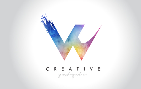 W Paintbrush Letter Design with Watercolor Brush Stroke and Modern Vibrant Colors Vector. Illusztráció