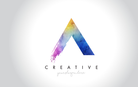 A Paintbrush Letter Design with Watercolor Brush Stroke and Modern Vibrant Colors Vector.