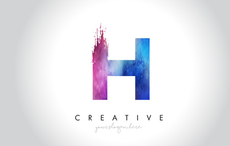 H Paintbrush Letter Design with Watercolor Brush Stroke and Modern Vibrant Colors Vector.