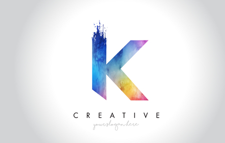 K Paintbrush Letter Design with Watercolor Brush Stroke and Modern Vibrant Colors Vector. Illustration