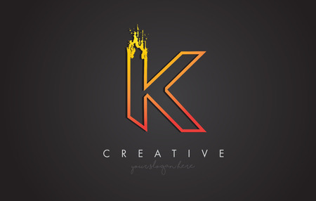 K Letter Design with Golden Outline and Grunge Brush Texture. Vector Illustration.