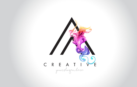 A Vibrant Creative Leter Logo Design with Colorful Smoke Ink Flowing Vector Illustration.