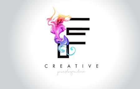 F Vibrant Creative Leter Logo Design with Colorful Smoke Ink Flowing Vector Illustration. Logó