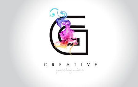 G Vibrant Creative Leter Logo Design with Colorful Smoke Ink Flowing Vector Illustration.