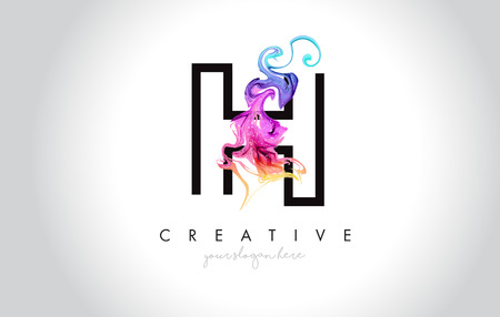 H Vibrant Creative Leter Logo Design with Colorful Smoke Ink Flowing Vector Illustration.