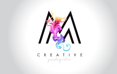 M Vibrant Creative Leter Logo Design with Colorful Smoke Ink Flowing Vector Illustration.