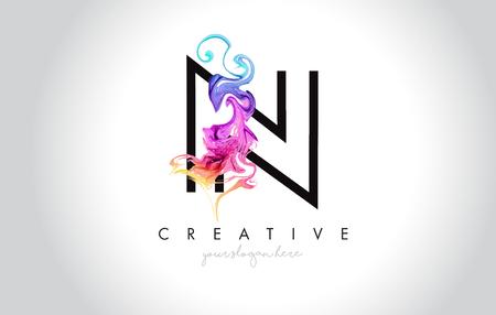 Projektowanie Logo N tętniącego życiem list kreatywnych z kolorowym atramentem dymu przepływającej ilustracji wektorowych.
